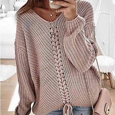 Women's Solid Colored Long Sleeve V Neck Pullover sweater