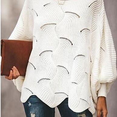 Women's Solid Colored Long Sleeve Scoop Neck Pullover sweater