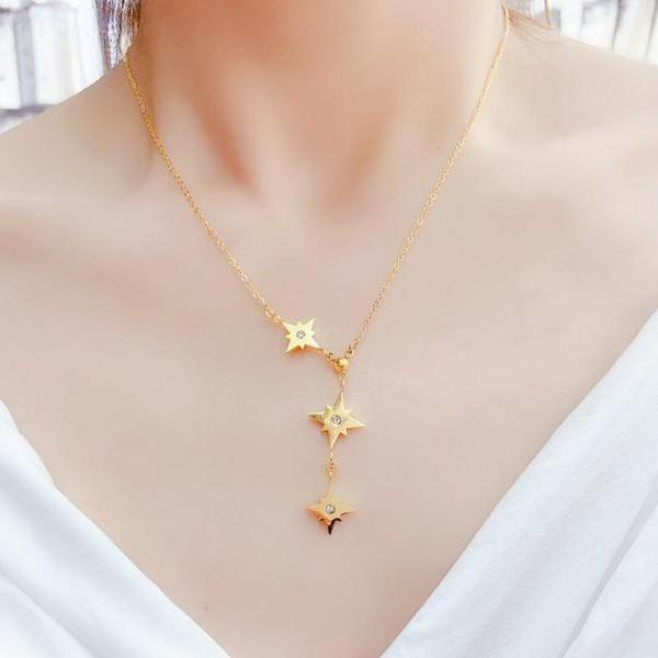 Contracted 8 awn star women/girl necklace