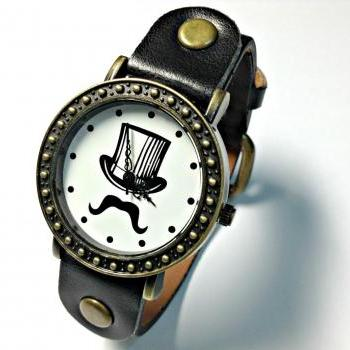 Handmade Vintage Magic Hat Moustache Mustache Face Leather Band Watches