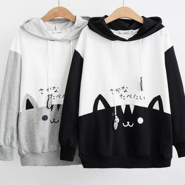 Cartoon cat print hoodie sweater #PR995