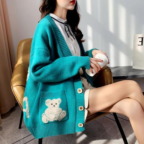 Korea style bear embroidery sweater cardigan #PR1000