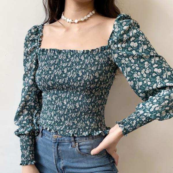 Vintage French Square Collar Pleated Floral Puff Sleeve Shirt