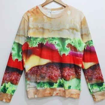 fashion Zero Fat Harajuku Cheese Burger Sweater