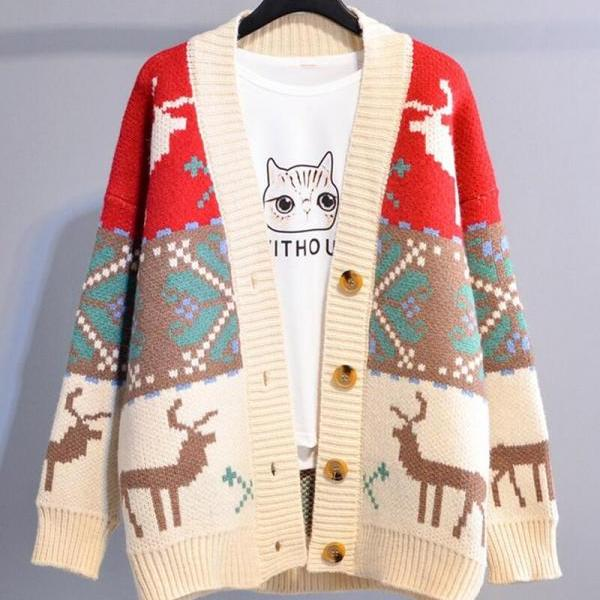 Vintage knit loose deer sweater cardigan