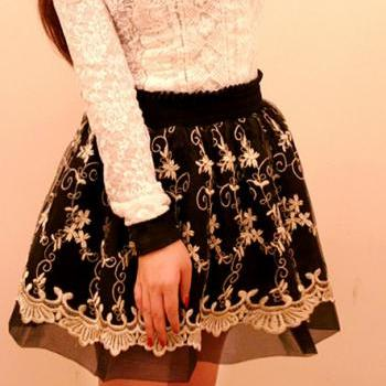 Black color Vintage Inspired High Waist Embroidered Floral Chiffon Skirt