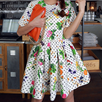 2014 Spring Summer Retro Inspired Dot Floral white color Dress