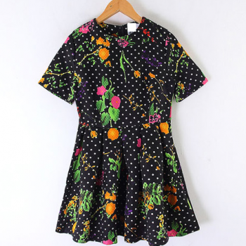 2014 Spring Summer Retro Inspired Dot Floral Black Dress