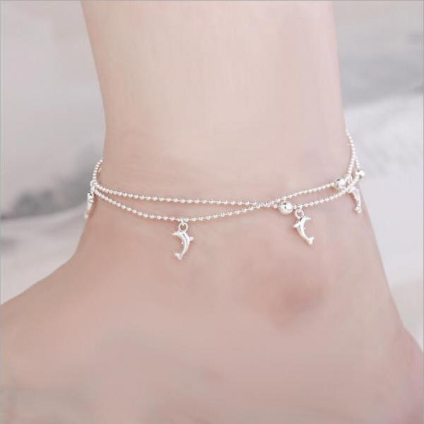 Fashion double cute dolphin ankle bracelet