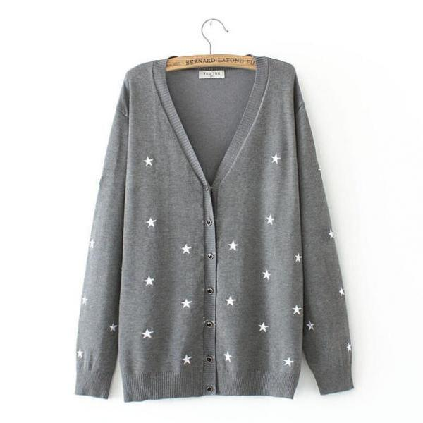 Women's plus size five-pointed star cardigan sweater