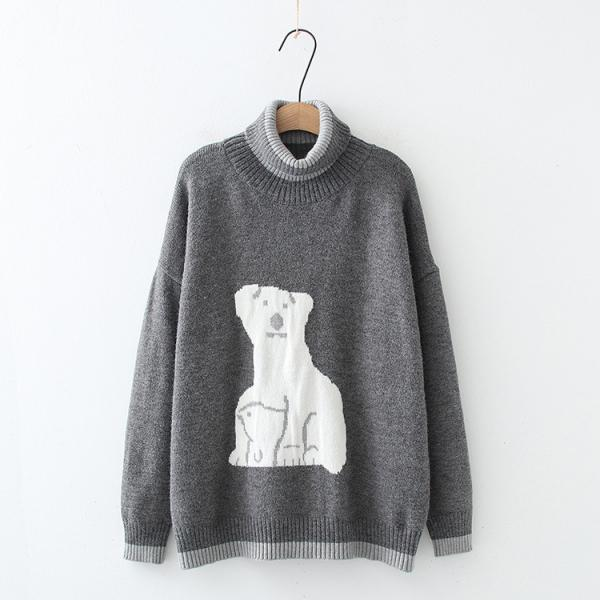 Cute cartoon white bear embroidery autumn and winter sweater