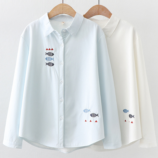 Small fish embroidery women's autumn and winter long-sleeved shirt blouse