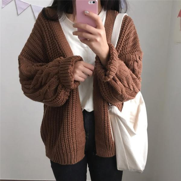 Korean women's loose plus size twist long-sleeved sweater cardigan