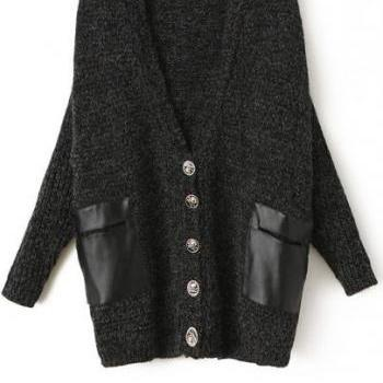 Long Sleeve Knitted Cardigan with Leather Pockets