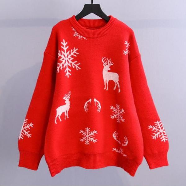 Women's loose pullover Christmas knitted sweater