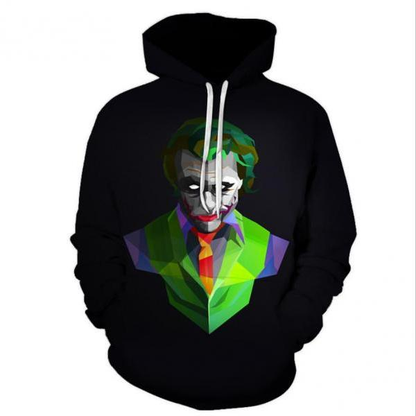 3D Clown pattern loose plus size men's Hoodie sweater