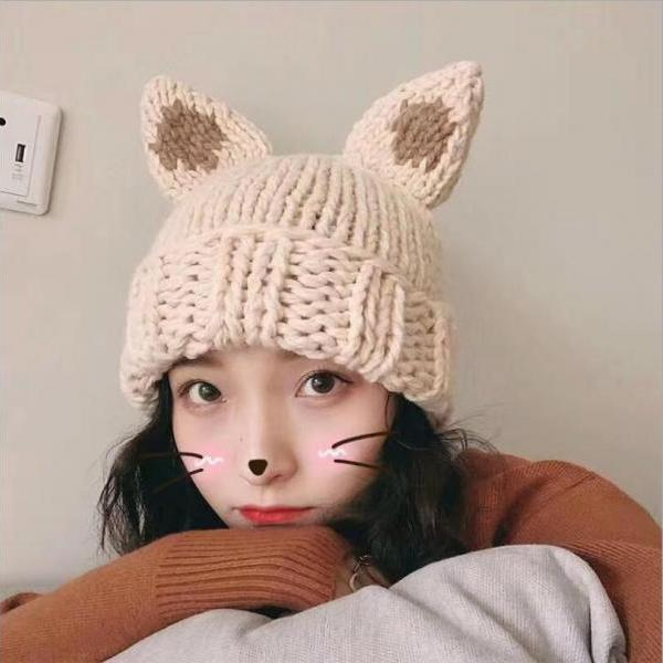 Cute Rabbit ear knitted cap hat