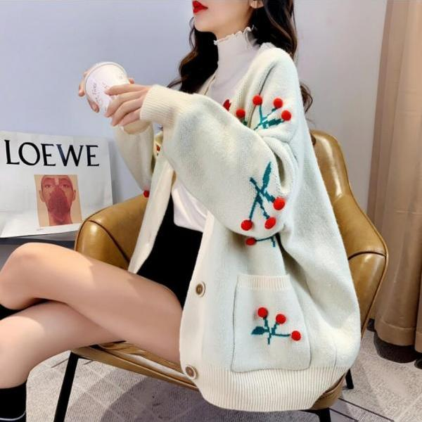 60% off Loose women's cherry Christmas knitted sweater cardigan