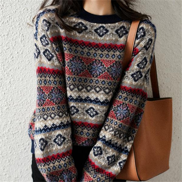 60% off Retro round neck loose knitted sweater