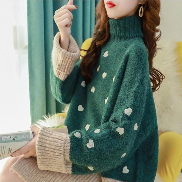 60% off Loose women's high-neck padded pullover sweater