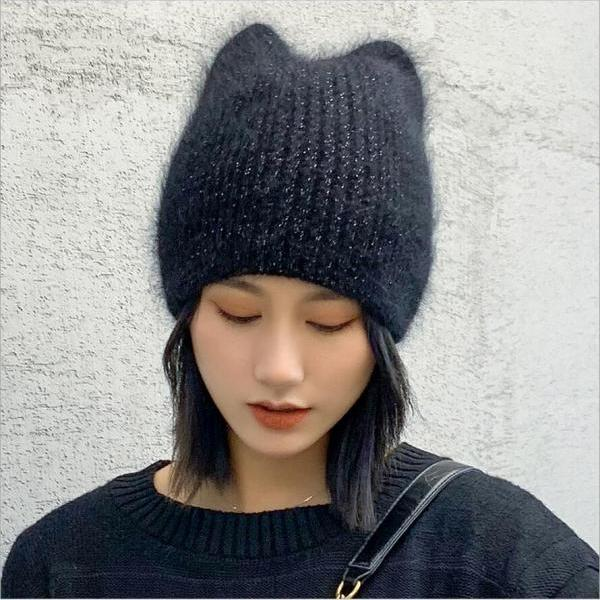 Cute cat ears rabbit fur knitted women's hood hat/wool cap
