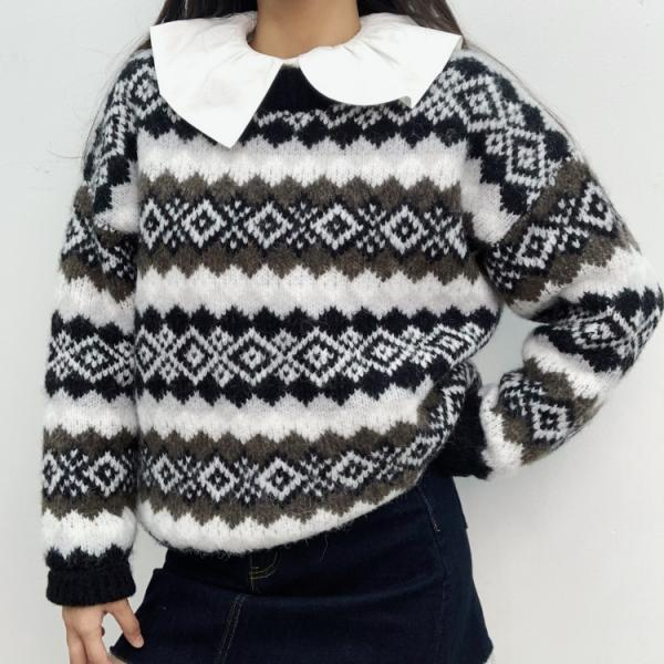 Women's warm cow velvet Nordic check round neck pullover sweater