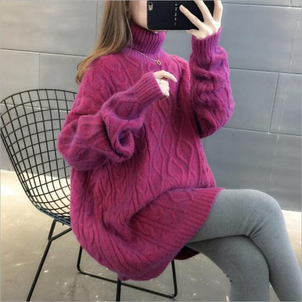 Women's loose lazy style thick sweater turtleneck sweater