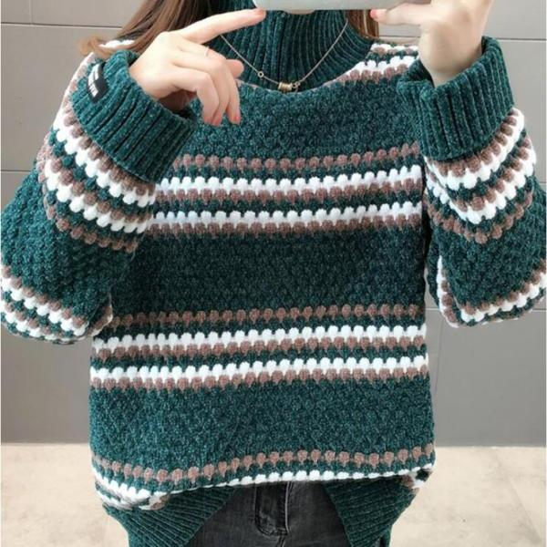 Women's Loose Outer Wear Labeled Striped Knit Turtleneck Sweater
