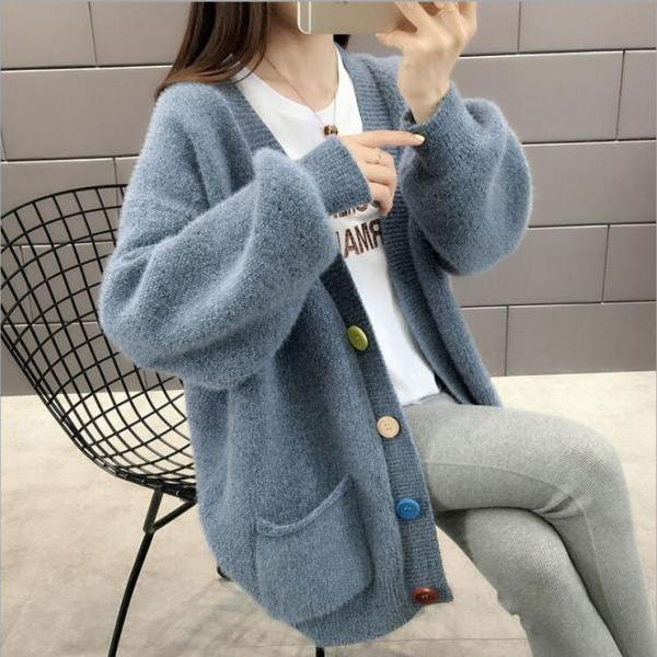 Women's loose knit mink fleece cardigan sweater