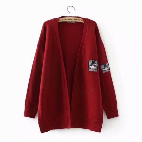Women cat Embroidery Long Sleeve Knitted Cardigan