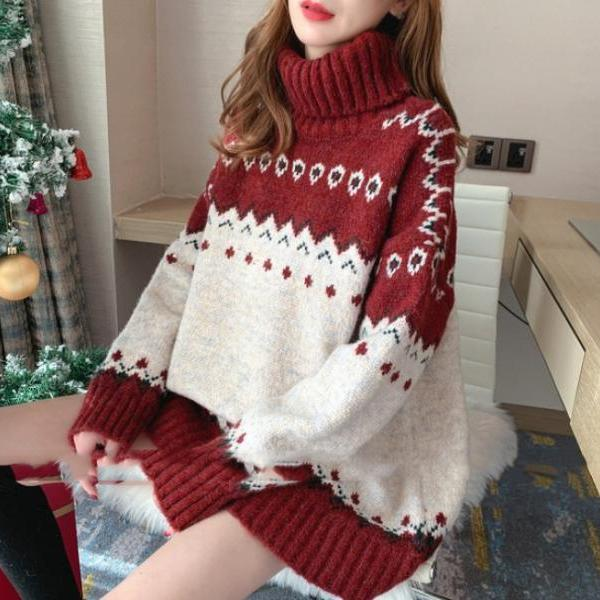 Women's autumn and winter loose knit padded turtleneck Christmas sweater