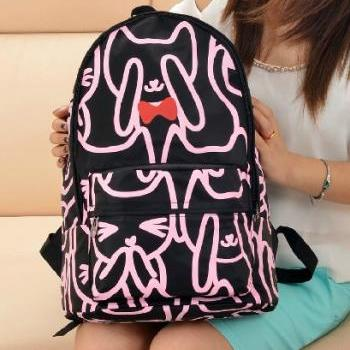 Neon Cat With Bow Backpack Shoulder Bag Handbag in black
