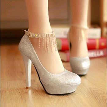 Round Toe Glittery Stiletto Pumps with Diamond Fringe Ankle Strap
