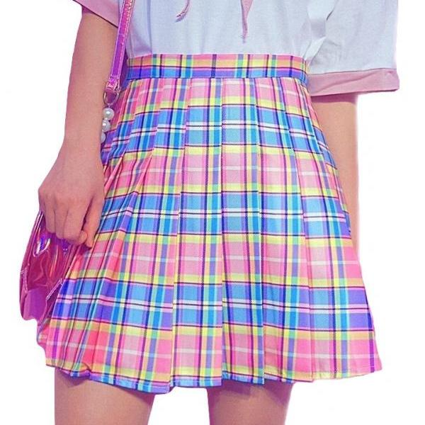 Rainbow Pink Pleated Plaid Skirt