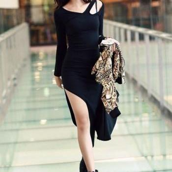 Black Skinny Cut Out Shoulder Long Sleeve Mid Calf Dress