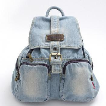 Fashion Cowboy Style Light Blue Simple Zip Denim Backpack