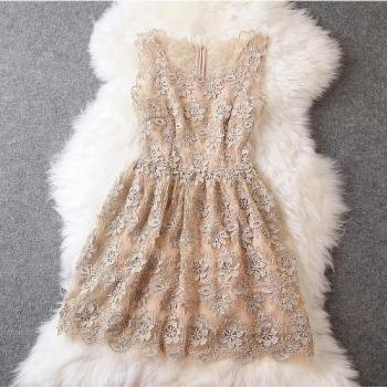 SEXY Lace Dress in Beige