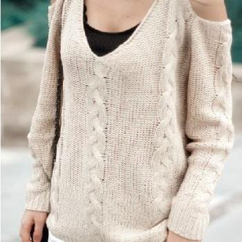 Bare Shoulder Loose Sweater