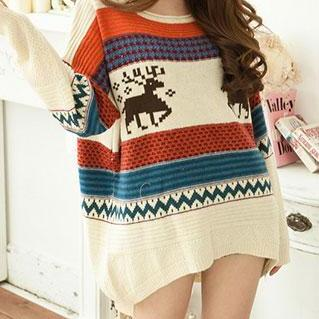 British Retro Style Mixing Color Deer Loose Fitting Knit Sweater
