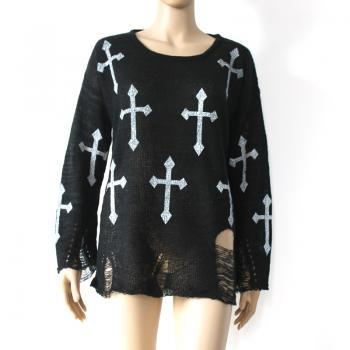 Black Harajuku Hole Ripped Torn Cross Sweater