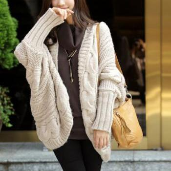 Unclosed Batwing Sleeve Cardigans