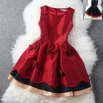 rose red Bow Princess Dress