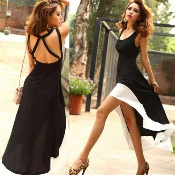 Women'S Fashion Sexy U-Neck Backless Swallow Tail Design Long Dress