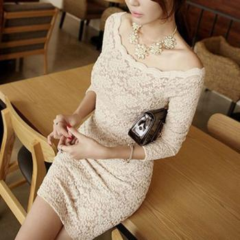 Boat Neck Long Sleeves Bodycon Sexy Semi Sheer Mini Lace Dress