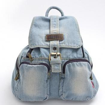 Light Blue Denim Backpack