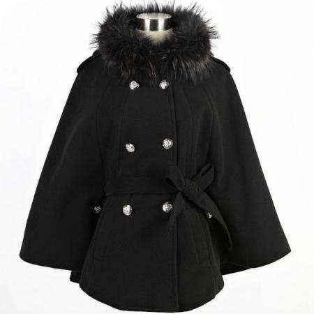 Black Wool Coat Jacket For Women Trench Coat Outwear Top Women Clothing