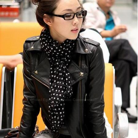 Punk Lapel Rivet PU Leather Women's Jacket