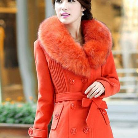 Orange Jacket With Big Collar Fox Fur Winter Fox Fur Jacket- Gorgeous Winter Jacket