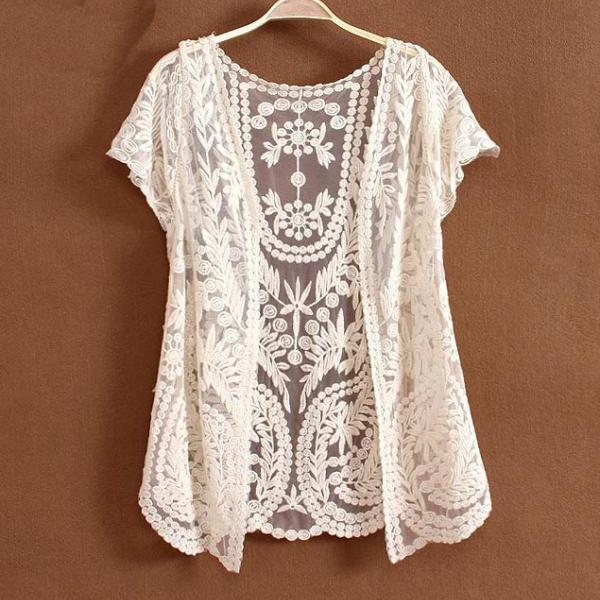 A 01703 LACE CARDIGAN SHIRT