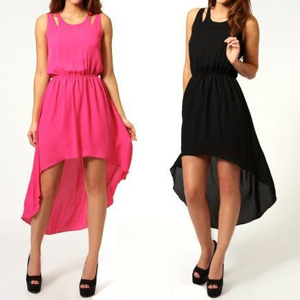 Back Slit Skirt Irregular Skirt Solid Color Chiffon Sleeveless Dress MLe